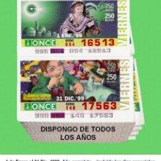 Cupones ONCE: 1999 - CUPONES DE LA ONCE / AÑO COMPLETO INCLUIDO LOS SORTEOS ESPECIALES / CALIDAD MUY BUENA. Lote 194272810