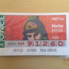 Cupones ONCE: CUPONES ONCE SERIE SOMBREROS Y ADORNOS CABEZA 1989. 55 CUPONES , CONTIENE EL 27 DE MARZO.. Lote 194365702