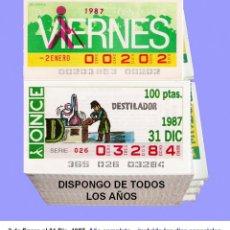 Cupones ONCE: 1987 - CUPONES DE LA ONCE / AÑO COMPLETO INCLUIDO LOS SORTEOS ESPECIALES / CALIDAD MUY BUENA. Lote 194390192