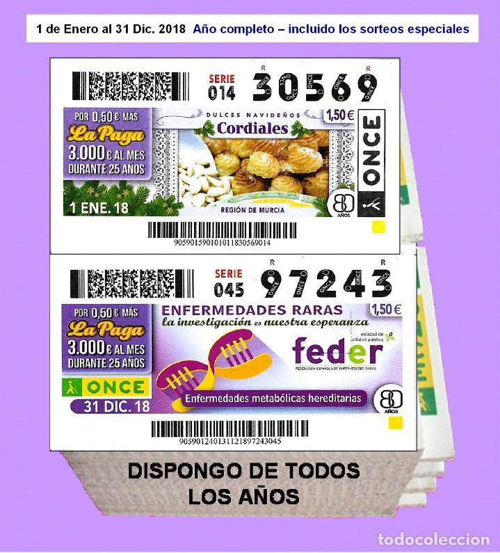 2018 - CUPONES DE LA ONCE / AÑO COMPLETO INCLUIDO LOS SORTEOS ESPECIALES / CALIDAD MUY BUENA (Coleccionismo - Lotería - Cupones ONCE)