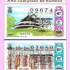 Cupones ONCE: 1973 LOTERÍA NACIONAL.- AÑO COMPLETO / 40 SORTEOS / CALIDAD MUY BUENA. Lote 194403295