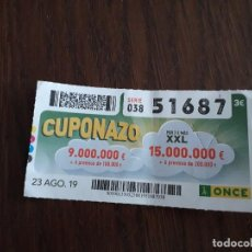 Cupones ONCE: CUPÓN ONCE 23-08-19 CUPONAZO.. Lote 194523745
