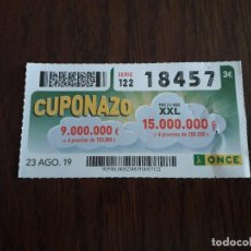 Cupones ONCE: CUPÓN ONCE 23-08-19 CUPONAZO.. Lote 194523817