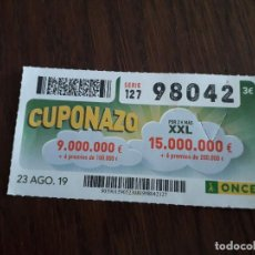 Cupones ONCE: CUPÓN ONCE 23-08-19 CUPONAZO.. Lote 194523917