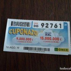 Cupones ONCE: CUPÓN ONDE 16-08-19 CUPONAZO.. Lote 194530990