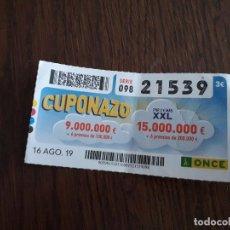 Cupones ONCE: CUPÓN ONDE 16-08-19 CUPONAZO.. Lote 194531040
