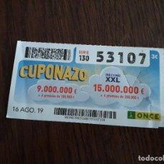 Cupones ONCE: CUPÓN ONDE 16-08-19 CUPONAZO.. Lote 194531075