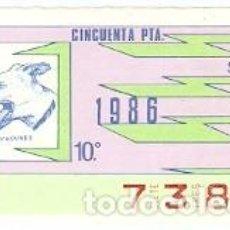 Cupones ONCE: CUPÓN ONCE DE 30-4-86. RAZAS CANINAS. GREY HOUNDS. 8-300486. Lote 194535511