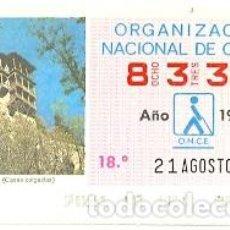 Cupones ONCE: CUPÓN ONCE DE 21-8-86. CUENCA. CASAS COLGADAS. 8-210886. Lote 194535957