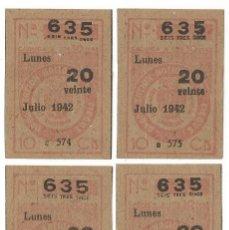 Cupones ONCE: CUPONES ONCE JULIO AÑO 1942 CUPON Nº 634 SERIE Nº 571 573 574 575 MBE. Lote 194674585