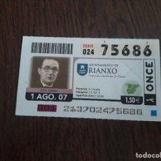 Cupones ONCE: CUPÓN DE LA ONCE DE AYUNTAMIENTOS DE ESPAÑA, AS PONTES DE GARCIA RIANXO, GALICIA 01-08-07. Lote 194731713