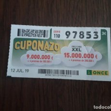 Cupones ONCE: CUPÓN ONCE 12-07-19 CUPONAZO.. Lote 194746922