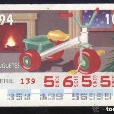 Cupones ONCE: A-8796- CUPÓN ONCE 19 DICIEMBRE 1994. JUGUETES.. Lote 194959597