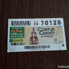 Cupones ONCE: CUPÓN ONCE 20-06-19 CORPUS CHRISTI DE OURENSE. DIOCESIS DE OURENSE.. Lote 194972393