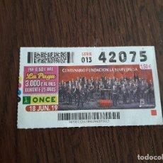 Cupones ONCE: CUPÓN ONCE 18-06-19 CENTENARIO FUNDACIÓN LA PALMPLONESA.. Lote 194972466