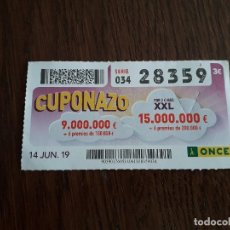 Cupones ONCE: CUPÓN ONCE 14-06-19 CUPONAZO.. Lote 194972632