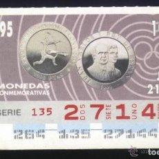 Cupones ONCE: A-8824- CUPÓN ONCE 21 SEPTIEMBRE 1995. MONEDAS. JUAN CARLOS I. CONMEMORATIVAS. OLIMPIADA BARCELONA.. Lote 195003483