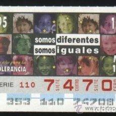 Cupones ONCE: A-8833- CUPÓN ONCE 19 DICIEMBRE 1995. 1 AÑO PARA LA TOLERANCIA.. Lote 195004038