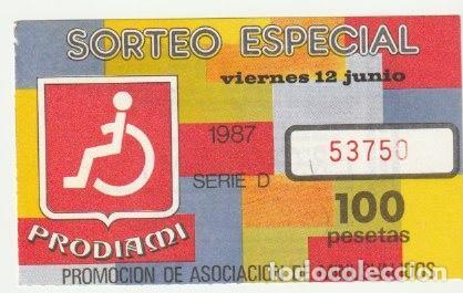 CUPON PRODIAMI 1987 DELEGACION VALENCIA -C-36 (Coleccionismo - Lotería - Cupones ONCE)
