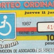 Cupones ONCE: CUPON PRODIAMI 1987 DELEGACION ALICANTE -C-36. Lote 195031323
