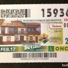 Cupones ONCE: Nº 15936 (12/FEBRERO/2017). Lote 195169237