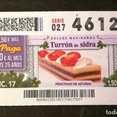 Cupones ONCE: Nº 46127 (18/DICIEMBRE/2017). Lote 195170621
