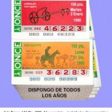 Cupones ONCE: 1990 - CUPONES DE LA ONCE / AÑO COMPLETO INCLUIDO LOS SORTEOS ESPECIALES / CALIDAD MUY BUENA. Lote 195192995