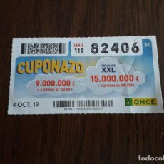 Cupones ONCE: CUPÓN ONCE 04-10-19 CUPONAZO.. Lote 195237668