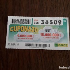 Cupones ONCE: CUPÓN ONCE 13-09-19 CUPONAZO.. Lote 195250577