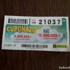 Cupones ONCE: CUPÓN ONCE 13-09-19 CUPONAZO.. Lote 195250592