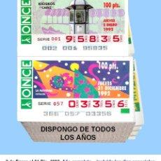 Cupones ONCE: 1992 - CUPONES DE LA ONCE / AÑO COMPLETO INCLUIDO LOS SORTEOS ESPECIALES / CALIDAD MUY BUENA. Lote 195270655
