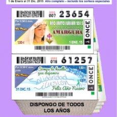 Cupones ONCE: 2015 - CUPONES DE LA ONCE / AÑO COMPLETO INCLUIDO LOS SORTEOS ESPECIALES / CALIDAD MUY BUENA. Lote 195271213