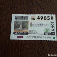 Cupones ONCE: CUPÓN DE LA ONCE DE AYUNTAMIENTOS DE ESPAÑA, CIEMPOZUELOS, MADRID 04-10-07. Lote 195334165
