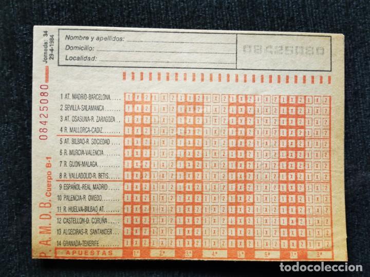 BOLETÍN APUESTAS QUINIELA AÑO 1984 (Coleccionismo - Lotería - Cupones ONCE)