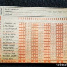 Cupones ONCE: BOLETÍN APUESTAS QUINIELA AÑO 1984. Lote 195360862