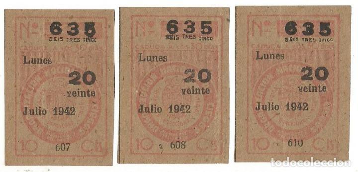 LOTERIA CUPONES CUPON ONCE SORTEO JULIO AÑO 1942 CUPON Nº 635 SERIE Nº 607 608 610 MBE (Coleccionismo - Lotería - Cupones ONCE)