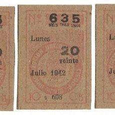 Cupones ONCE: LOTERIA CUPONES CUPON ONCE SORTEO JULIO AÑO 1942 CUPON Nº 635 SERIE Nº 607 608 610 MBE. Lote 195361548