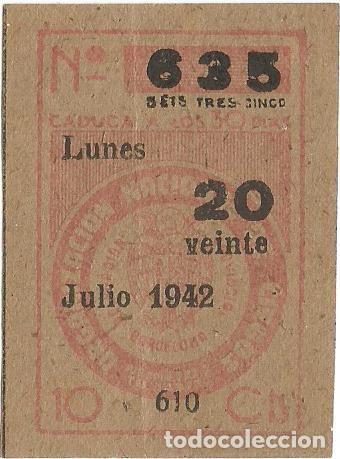 Cupones ONCE: LOTERIA CUPONES CUPON ONCE SORTEO JULIO AÑO 1942 CUPON Nº 635 SERIE Nº 607 608 610 MBE - Foto 3 - 195361548
