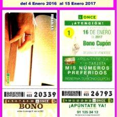 Cupones ONCE: 2016 AÑO COMPLETO - BONO SEMANAL DE LA ONCE / ENTERO SIN CORTAR / CALIDAD MUY BUENA. Lote 195381827