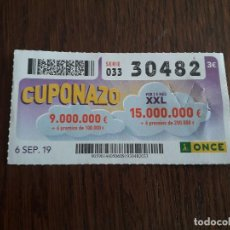 Cupones ONCE: CUPÓN ONCE 06-09-19 CUPONAZO.. Lote 195435335