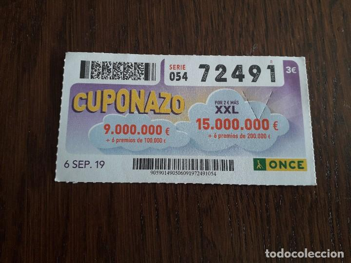 CUPÓN ONCE 06-09-19 CUPONAZO. (Coleccionismo - Lotería - Cupones ONCE)