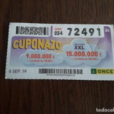 Cupones ONCE: CUPÓN ONCE 06-09-19 CUPONAZO.. Lote 195435382