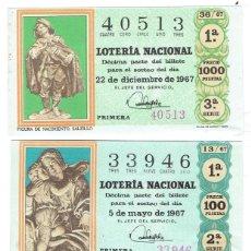 Cupones ONCE: LOTERIA NACIONAL, SORTEOS 7,13,36 DEL AÑO 1967. Lote 195455988