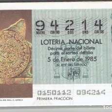 Cupones ONCE: LOTERIA NACIONAL, 1985 COMPLETO. Lote 195490271