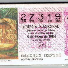 Cupones ONCE: LOTERIA NACIONAL, 1984 COMPLETO. Lote 195490831
