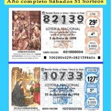 Cupones ONCE: 1998 LOTERÍA NACIONAL.- AÑO COMPLETO SÁBADOS / CALIDAD MUY BUENA, DISPONGO DE OTROS AÑOS. Lote 195492442