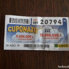 Cupones ONCE: CUPÓN ONCE 30-08-19 CUPONAZO.. Lote 195507103