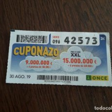 Cupones ONCE: CUPÓN ONCE 30-08-19 CUPONAZO.. Lote 195507160