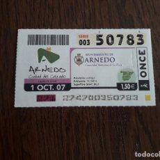 Cupones ONCE: CUPÓN DE LA ONCE DE AYUNTAMIENTOS DE ESPAÑA, ARNEDO, LA RIOJA 01-10-07. Lote 195507821