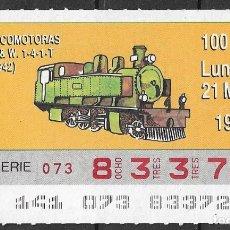 Billets ONCE: ONCE,LOCOMOTORAS,21/05/1990.. Lote 195904751